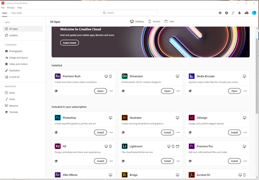 "Adobe Creative Cloudin ""All Apps"" näkymä."